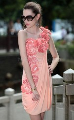Short Watermelon Formal Homecoming Dress with Ruched and Flowers (GZNZ6018)