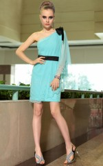 One Shoulder Short Blue Formal Homecoming Gown with Short Sleeves (GZNZ6036)