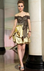 Short Black Lace and Gold Dress for Party with Pick-Ups and Lace and Bows(GZNZ6043)