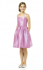 Pink Knee-length A-line Taffeta Junior Bridesmaid Dress (NZJBD06-004)