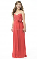 Watermelon Long A Line Chiffon Junior Bridesmaid Dress (NZJBD06-011)