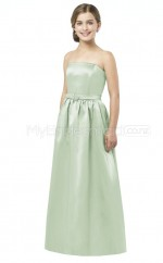 Sage Long A Line Stretch Satin Junior Bridesmaid Dress (NZJBD06-013)