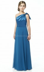 Ocean Blue Long A Line Stretch Satin Junior Bridesmaid Dress (NZJBD06-017)