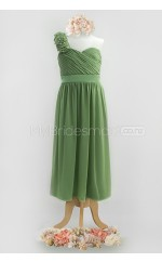 Sage Long A Line Chiffon Junior Bridesmaid Dress (NZJBD06-018)