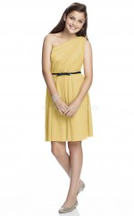 Gold Short/Mini A-line Chiffon Junior Bridesmaid Dress (NZJBD06-025)