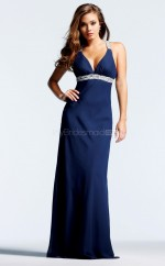 Chiffon Sheath V-neck Floor-length Dark Blue Ball Dresses (NZJT06005)