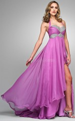 Chiffon A-line Sweetheart Asymmetrical Dark Lilac Ball Dresses (NZJT06017)