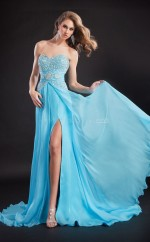 Chiffon A-line Sweetheart Sweep Train Sky Blue Ball Dresses (NZJT06020)