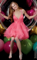 Watermelon Tulle Princess V-neck Short School Ball Gowns(NZJT06023)