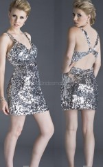 Silver Sheath Straps Sequined Short Ball Dresses (NZJT06024)