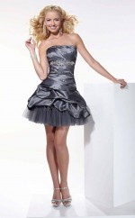 Dark Silver Taffeta Ball Gown Strapless Short School Ball Gowns(NZJT06030)