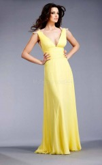Yellow A-line V-neck Chiffon Long Ball Dresses (NZJT06033)