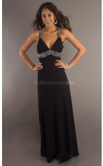 Chiffon Sheath V-neck Floor-length Black Ball Dresses (NZJT06043)