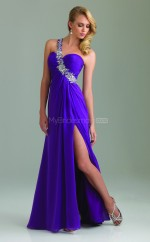 Blue A-line Floor-length Chiffon One Shoulder Ball Dresses (NZJT06045)