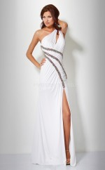 Ivory A-line Floor-length Chiffon One Shoulder Ball Dresses (NZJT06051)