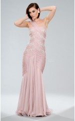 Nude Pink Mermaid Floor-length Chiffon One Shoulder Ball Dresses (NZJT06057)