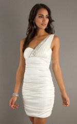 Ivory Sheath Short Chiffon One Shoulder Ball Dresses (NZJT06064)