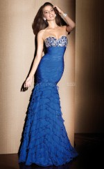 Silk Like Chiffon Mermaid Sweetheart Floor-length Ocean Blue Ball Dresses (NZJT06072)