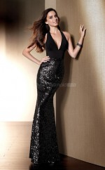 Sequined Mermaid V-neck Floor-length Black Ball Dresses (NZJT06075)