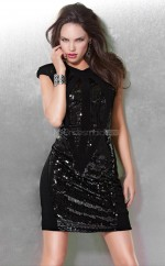 Black Sheath Jewel Sequined Short Ball Dresses (NZJT06079)