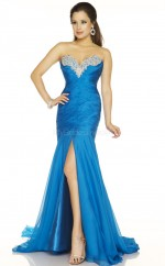 Silk Like Chiffon Mermaid Sweetheart Sweep Train Ocean Blue Ball Dresses (NZJT06099)