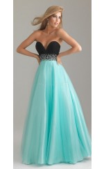 Satin Chiffon A-line Sweetheart Floor-length Light Blue Ball Dresses (NZJT06105)