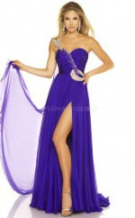Silk Like Chiffon A-line One Shoulder Sweep Train Regency Ball Dresses (NZJT06107)