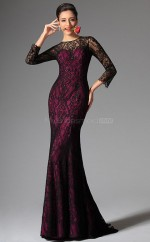 Fuchsia Jewel Neck Long Lace Bridesmaid Dress with long Sleeves NZJT061318