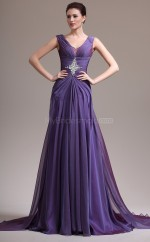 V Neck Chiffon A Line Purple Bridesmaid Dress NZJT061320
