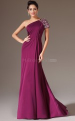 Modern Dark Fuchsia Chiffon Long Bridesmaid Dress with Short Sleeves NZJT061321