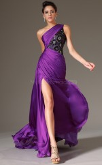 One Shoulder Chiffon Mermaid Purple Bridesmaid Dress NZJT061322