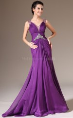 Chic Chiffon Purple Long Bridesmaid Dress NZJT061325