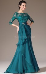 Ink Blue Long Chiffon and Lace Bridesmaid Dress with long Sleeves NZJT061331