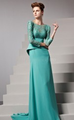 Jade Bateau Long Chiffon and Lace Bridesmaid Dress with long Sleeves NZJT061337