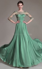 Green Chiffon and Lace Long Empire waist long Sleeved Bridesmaid Dress NZJT061340