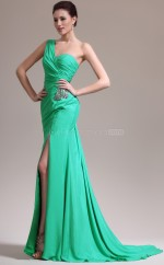 Elegant Chiffon Green Long Empire waist Bridesmaid Dress NZJT061343