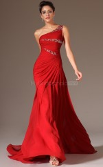 Red Chiffon Long Empire waist Bridesmaid Dress NZJT061346