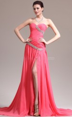 Peach Sweetheart Neck Long Chiffon Bridesmaid Dress NZJT061353