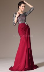 Scoop Neckline Chiffon and Lace Mermaid Burgundy Bridesmaid Dress with long Sleeves NZJT061360