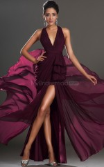Grape V Neck Long Chiffon  Empire waist Bridesmaid Dress NZJT061369