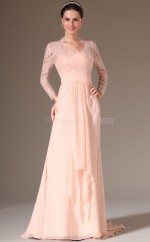 Pearl Pink Chiffon and Lace Long Trendy Bridesmaid Dress with long Sleeves NZJT061371
