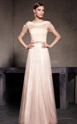 Pearl Pink Long Scoop Neckline Tulle Bridesmaid Dress with Short Sleeves NZJT061372