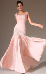 Candy Pink Chiffon Long Glamorous Bridesmaid Dress NZJT061376