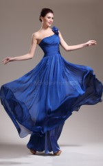 Royal Blue One Shoulder Long Chiffon Bridesmaid Dress NZJT061388
