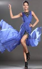 Jewel Neck Chiffon and Lace Sheath Ocean Blue Bridesmaid Dress NZJT061396