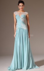 Empire waist Blue Scoop Neckline Chiffon Bridesmaid Dress with Short Sleeves NZJT061400