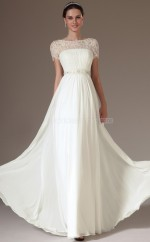 White Chiffon and Lace Long Teenage Bridesmaid Dress with Short Sleeves NZJT061405