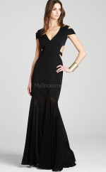 Satin Mermaid V-neck Floor-length Black Ball Dresses (NZJT06141)