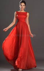 Empire waist Red Bateau Velvet Chiffon Bridesmaid Dress NZJT061411