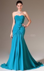 Mermaid Chiffon Long Blue Bridesmaid Dress NZJT061421